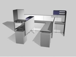 Office Cubicles Workstations 3d preview