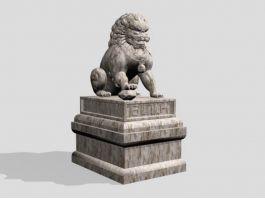Stone Lion Statue 3d preview