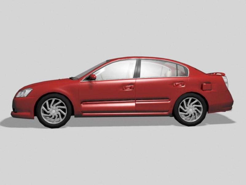 Nissan Altima Sedan Car Red 3d rendering