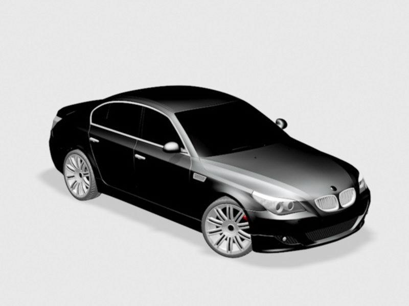 Black BMW Sedan 3d rendering