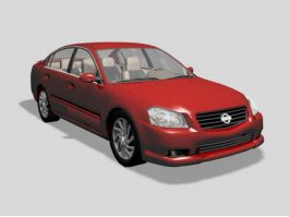 Nissan Altima Sedan Car Red 3d preview