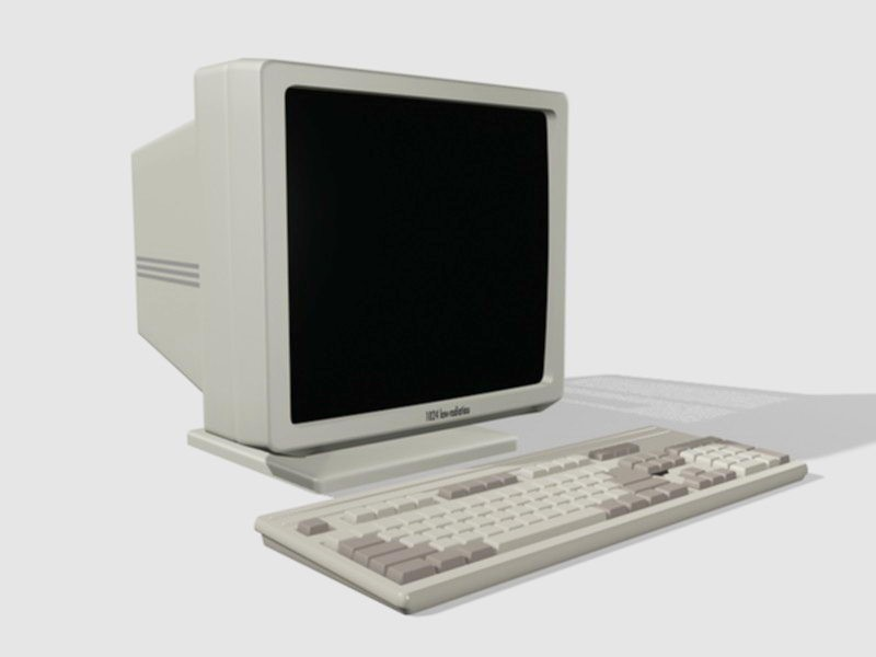Old Computer Monitor with Keyboard 3d rendering