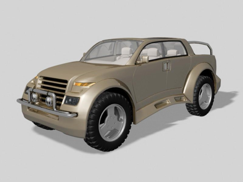 Concept Small Pickup Truck 3d rendering
