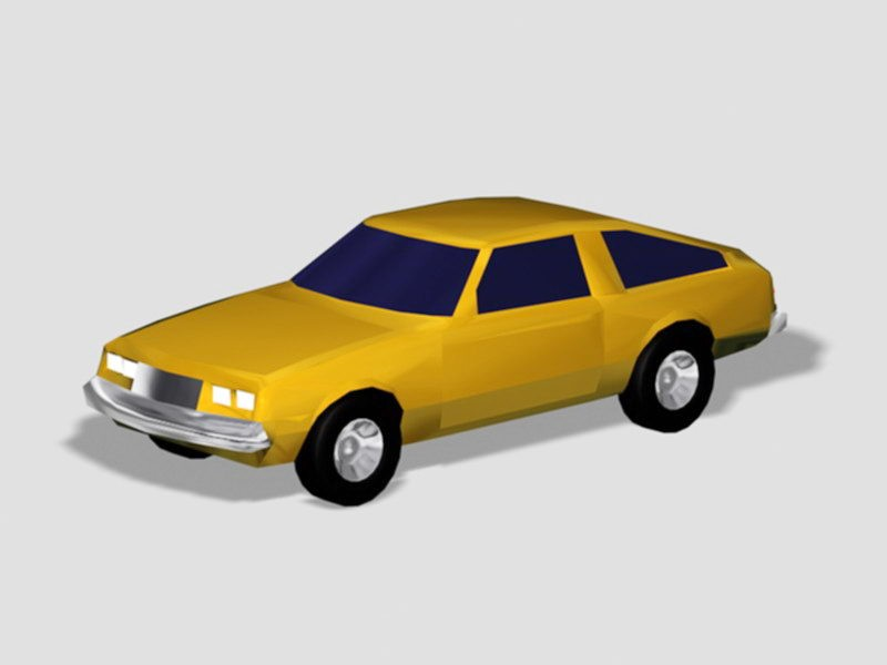 Yellow Sports Car 3d rendering