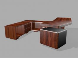 Executive Desk Furniture 3d model preview