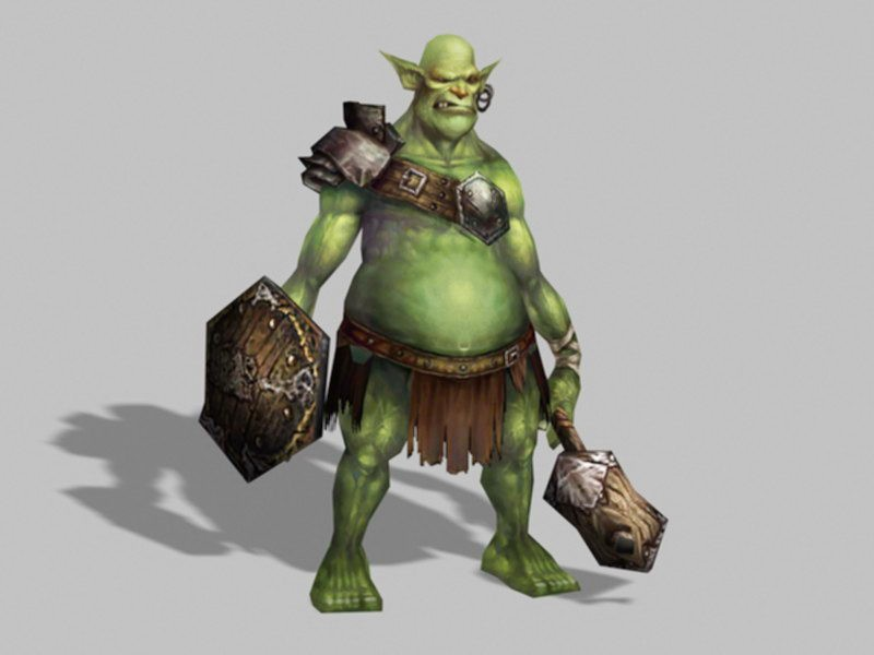 Armored Orc Warrior 3d rendering