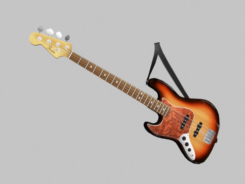4 String Bass Guitar 3d rendering
