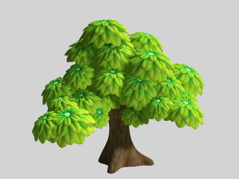 Green Cartoon Tree 3d rendering