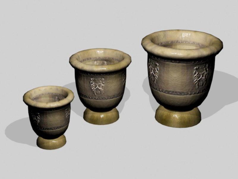 Terracotta Garden Pots 3d rendering