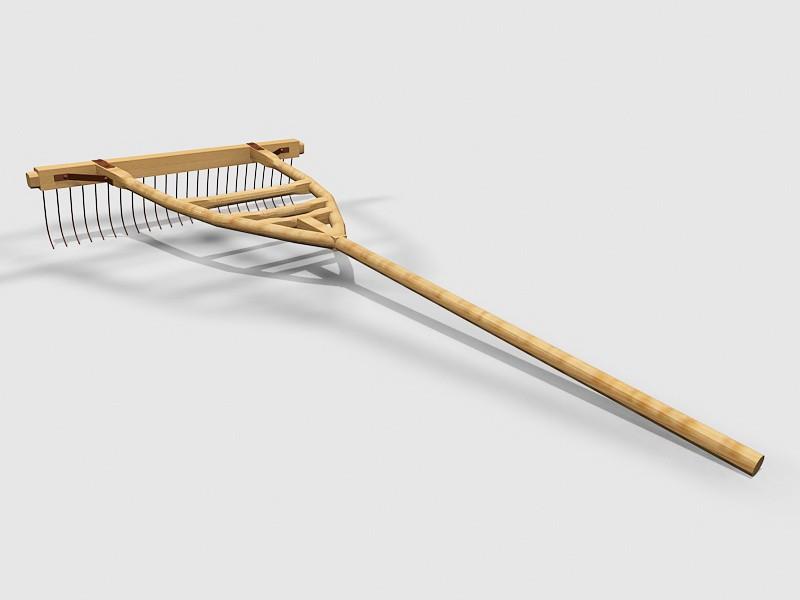 Wooden Rake 3d rendering