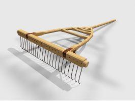 Wooden Rake 3d model preview