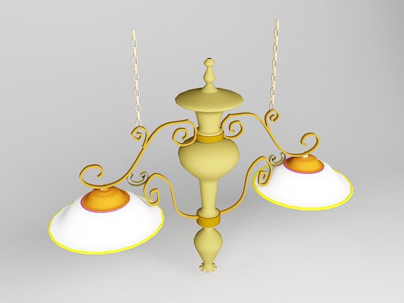 Double Pendant Kitchen Light 3d rendering