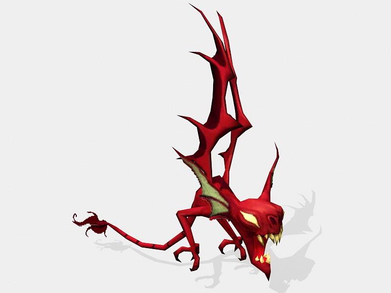 Little Demon with Wings 3d rendering