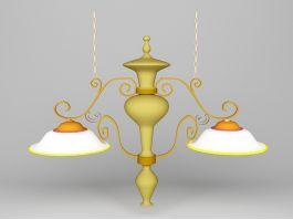 Double Pendant Kitchen Light 3d model preview