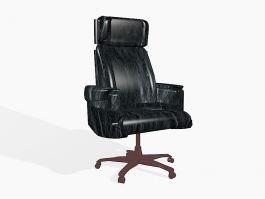 Black Leather Desk Chair 3d model preview