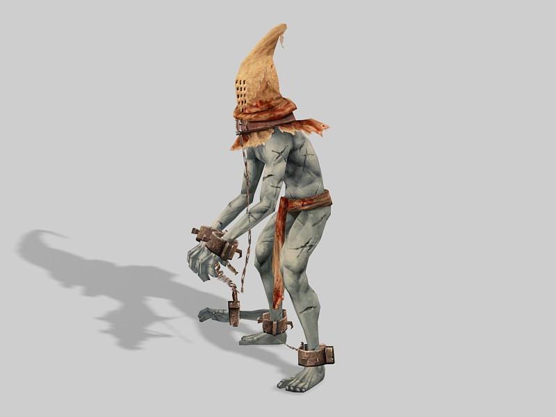 Undead Zombie Prisoner 3d rendering
