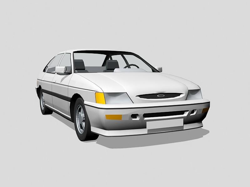 White Sedan Car 3d rendering