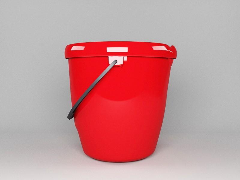 Red Water Bucket 3d rendering