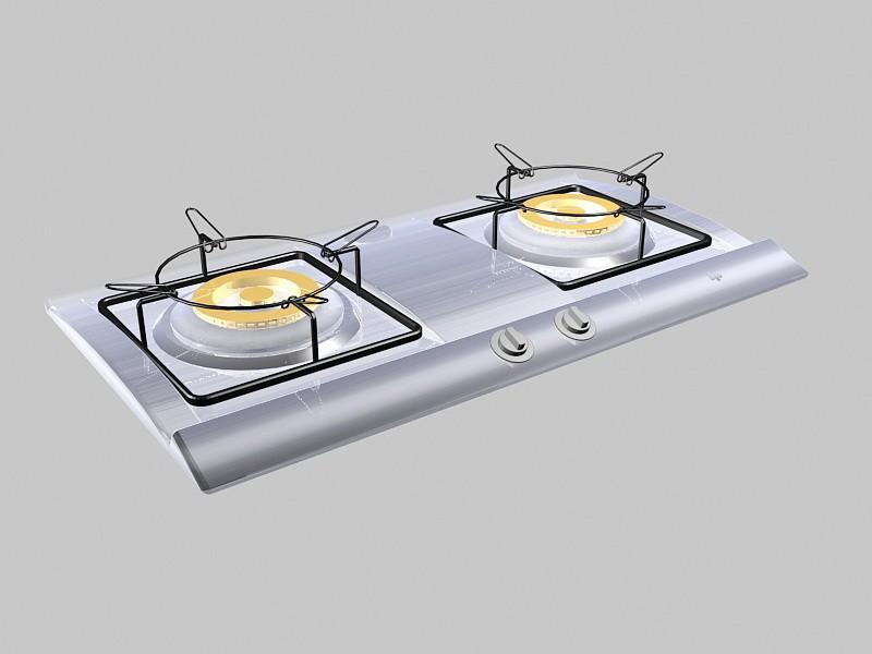 2 Burner Gas Stove Top 3d rendering