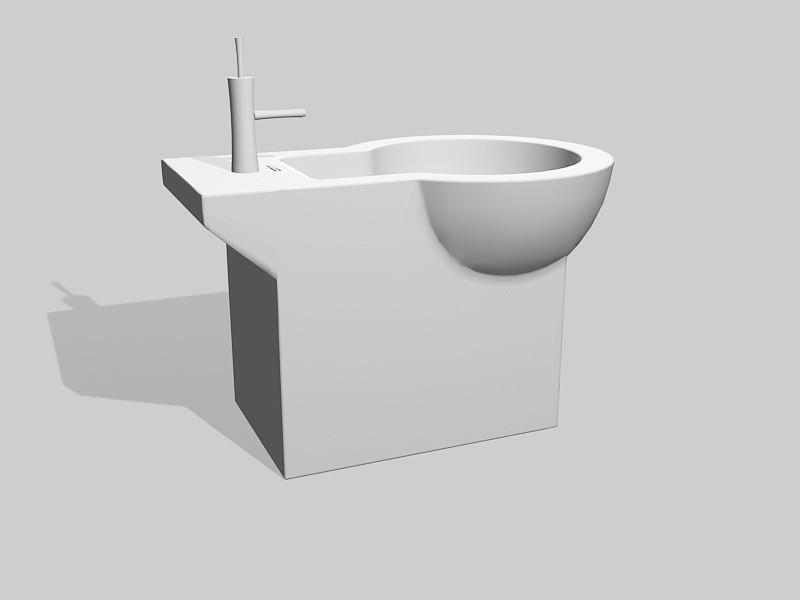 Standalone Bidet 3d rendering