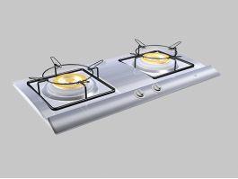 2 Burner Gas Stove Top 3d model preview