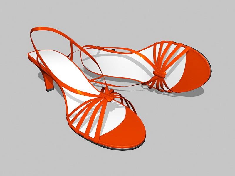 Women's Red Sandals 3d rendering