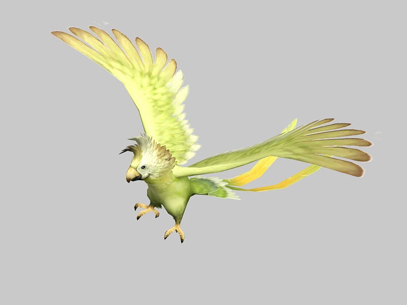 Yellow Parrot Bird 3d rendering