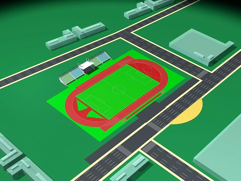 Soccer Stadium Plan 3d rendering