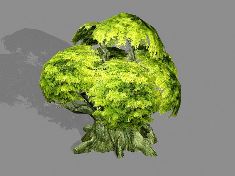 Anime Old Tree 3d rendering