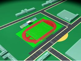 Soccer Stadium Plan 3d preview