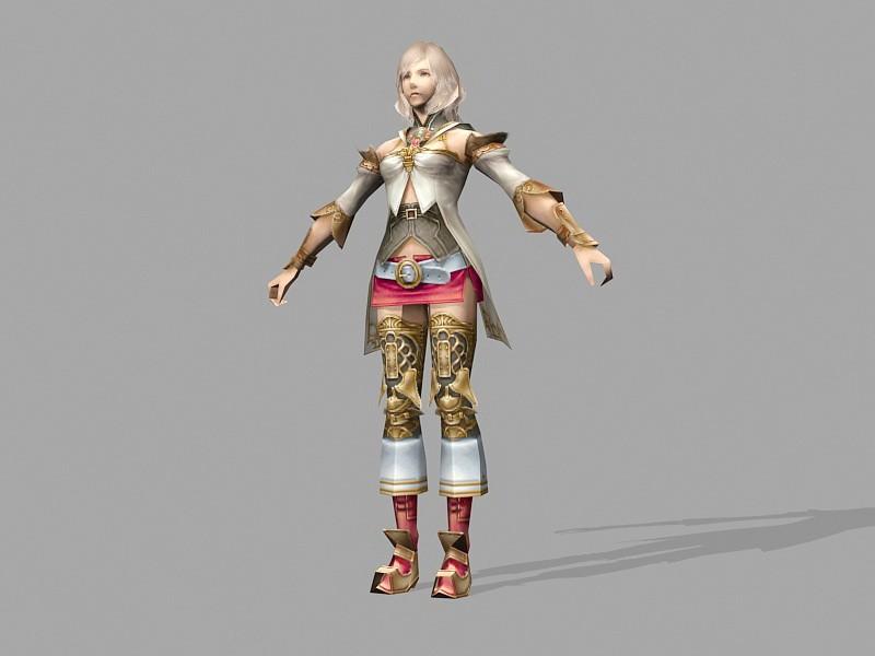 Manga Warrior Girl 3d rendering