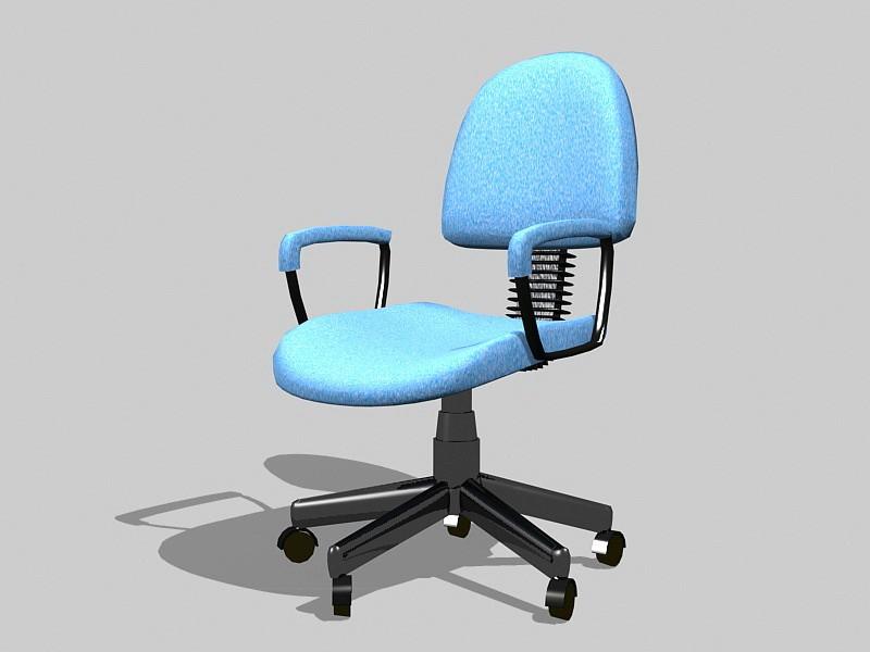 Blue Swivel Desk Chair 3d rendering
