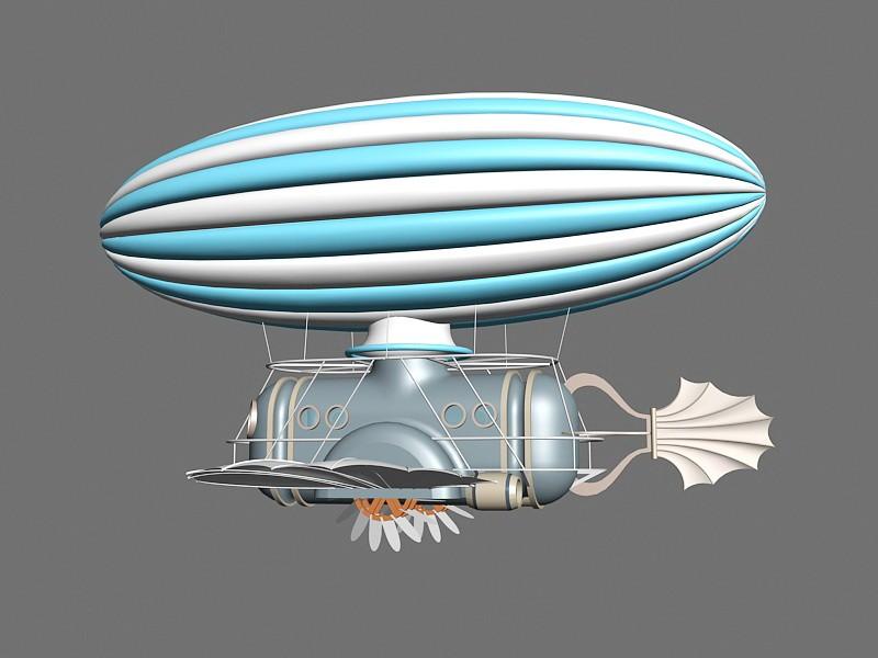 Steampunk Airship 3d rendering