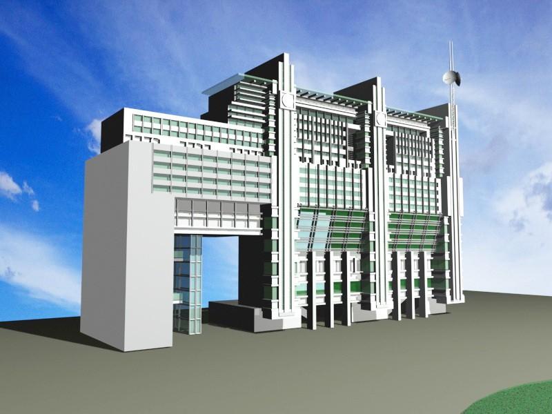Office Building Block 3d rendering