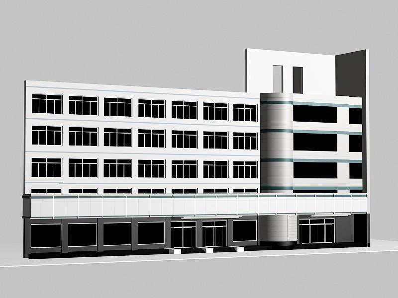 5 Story Office Building Block 3d rendering