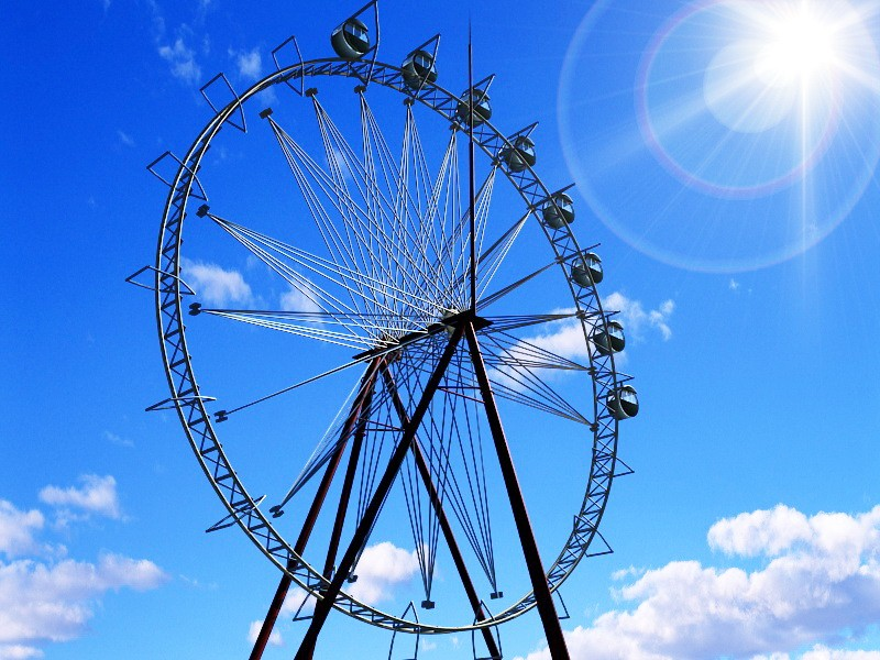 Amusement Park Ferris Wheel 3d rendering
