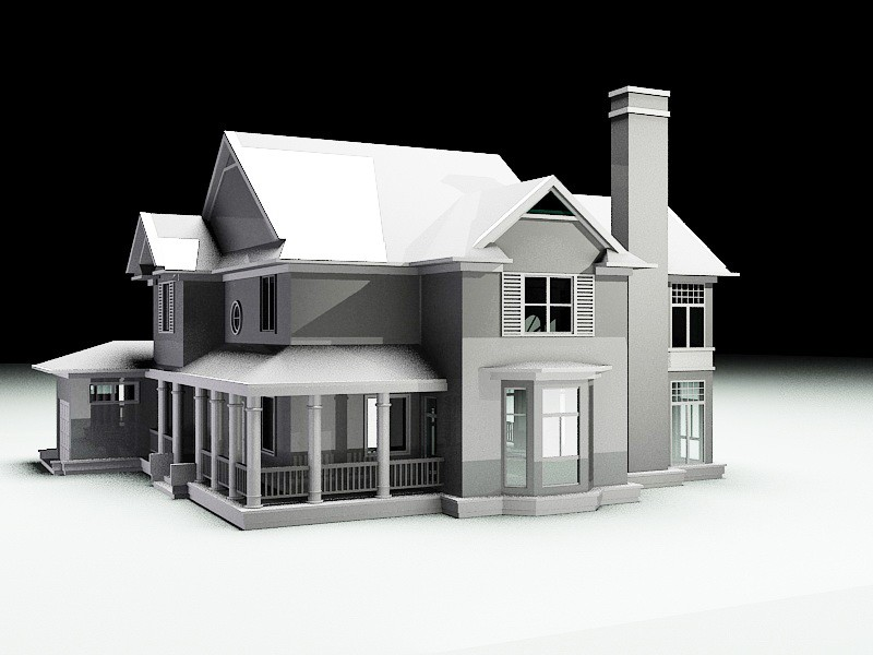 Traditional Family House 3d rendering