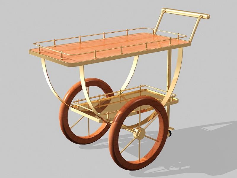 Vintage Kitchen Bar Cart 3d rendering