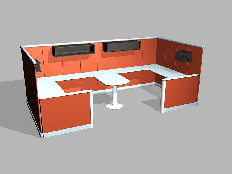 Comtemporary Cubicle Desk Workstations 3d rendering