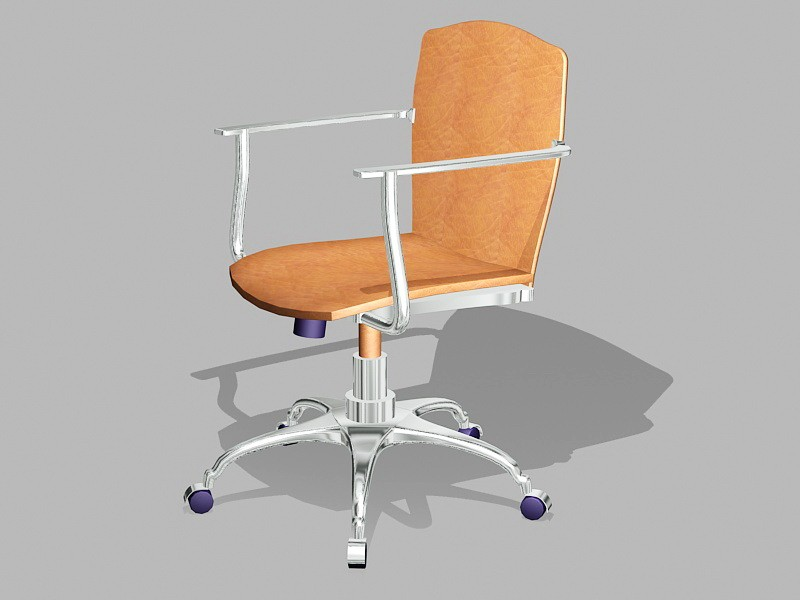 Brown Leather Desk Chair 3d rendering