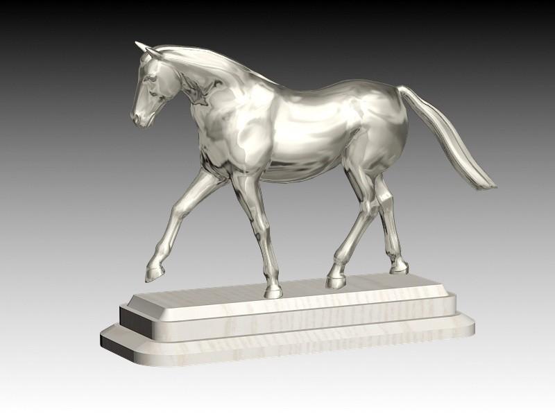 Vintage Metal Horse Statue Figurine 3d rendering