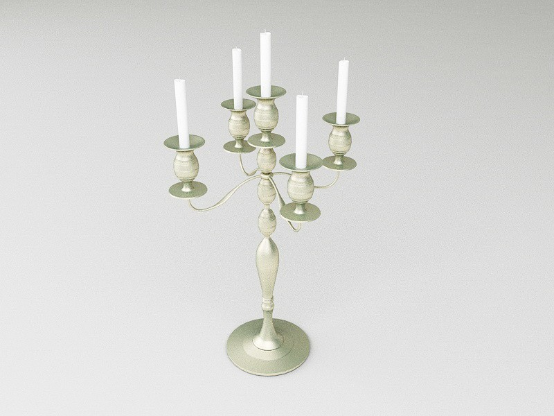 Brass Candelabrum with Candles 3d rendering