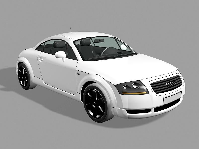 White Audi TT 3d rendering