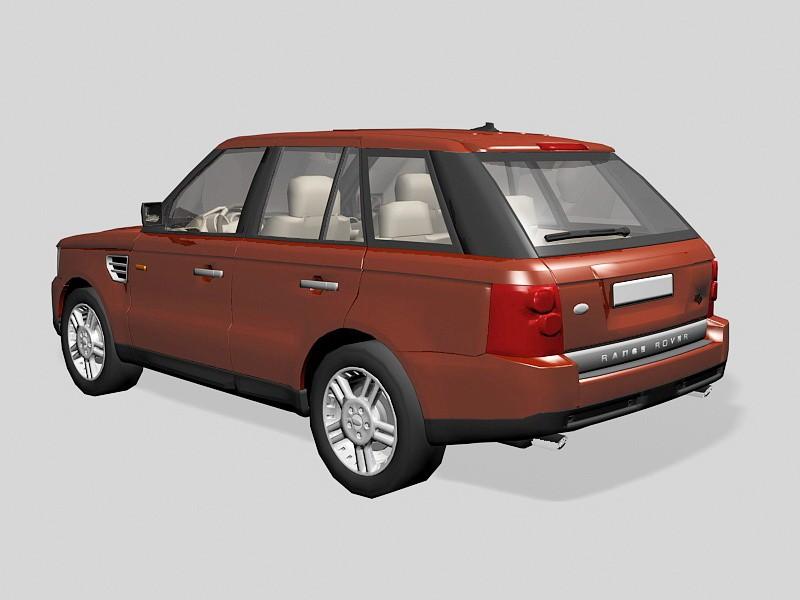 Red Land Rover Range Rover Evoque 3d rendering