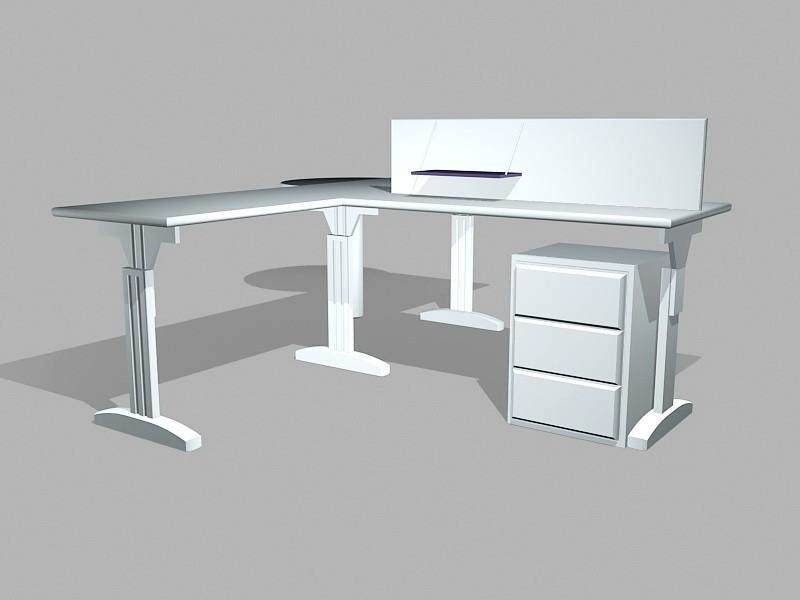 Office Computer Desks Workstations 3d rendering