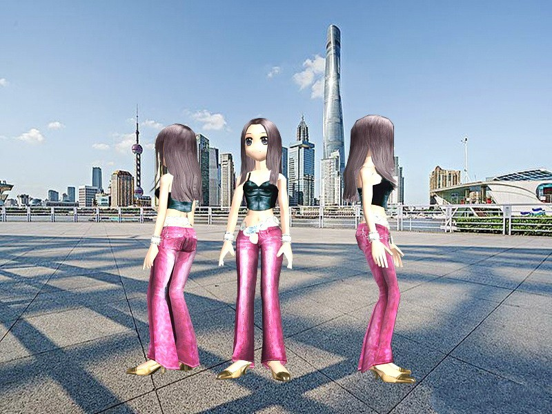 Anime Cool Fashion Girl 3d rendering