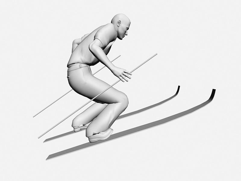 Skiing Man 3d rendering