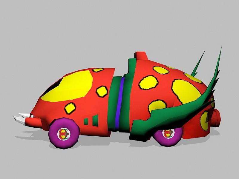 Cartoon Beetle Car 3d rendering