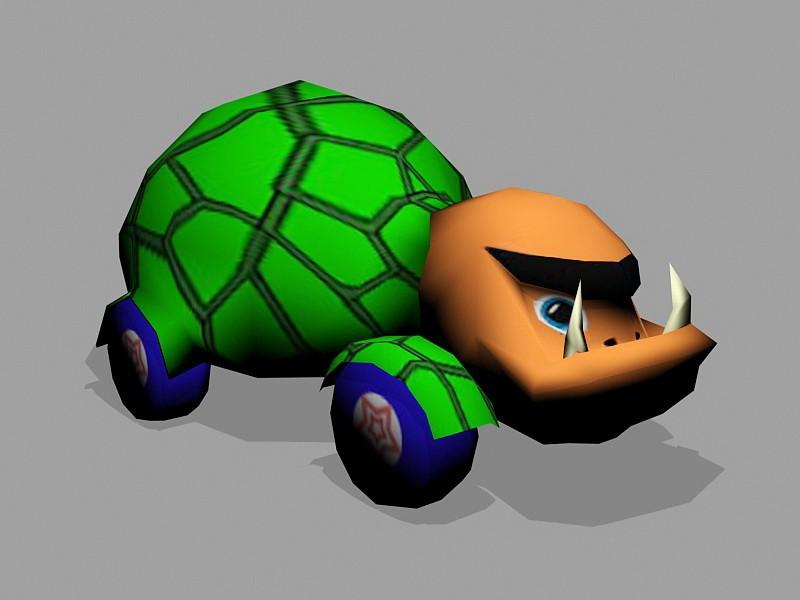 Cartoon Turtle Car 3d rendering