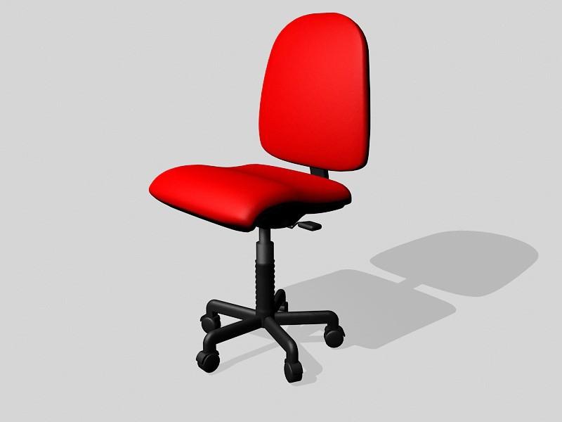 Red Swivel Desk Chair 3d rendering
